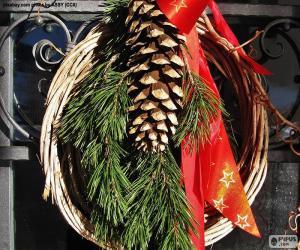 Puzle Rustikální vánoční věnec