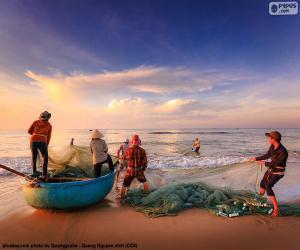 Puzle Rybáři v Vietnamu
