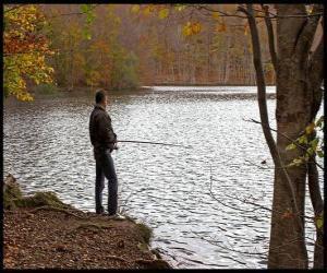 Puzle Rybolov - Rybář na řece akci v lesnaté krajině