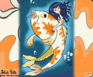 Puzle Ryby a mořská panna, výkres Juliet