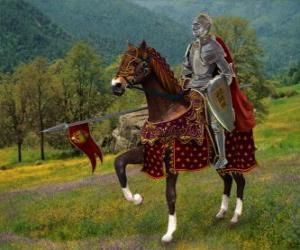 Puzle Rytíř s helmu a brnění a s oštěpem připraven, nasedl na svého koně