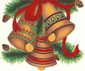 Puzle Sada tři zvony ozdobené vánoční ozdoby