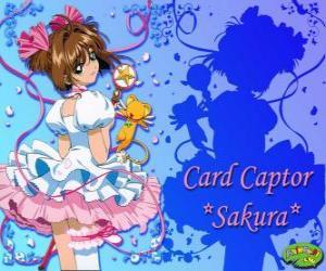 Puzle Sakura, karta únosce s jedním z jejích šatů vedle Kero