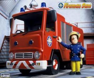 Puzle Sam vedle Jupiter hasičský vůz