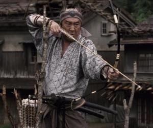Puzle Samurai natáčení jeho luk