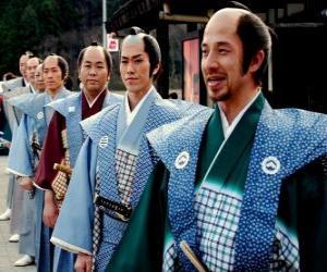 Puzle Samurai s tradičními šaty, volné kalhoty a kimono