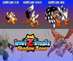 Puzle Sandflame Cub, Sandflame Scout, Sandflame Max. Invizimals Shadow Zone. Tyto Invizimals chránili po staletí hrobkách faraonů