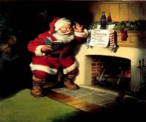 Puzle Santa čtení poznámku od krbu