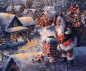 Puzle Santa Claus na střeše domu vedle komína