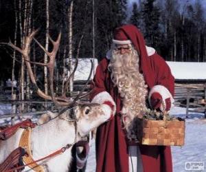 Puzle Santa Claus nadílka-krmit soby