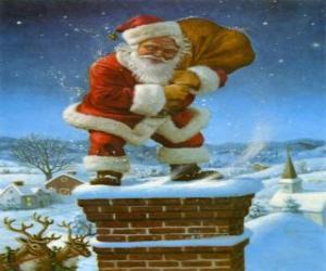 Puzle Santa Claus přichází s komínem naložený s mnoha dárky
