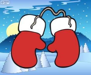 Puzle Santa Claus rukavice. Červené a bílé palčáky