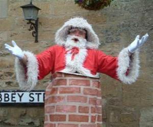 Puzle Santa Claus s problémy projít komín
