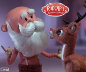Puzle Santa Claus s Rudolfem