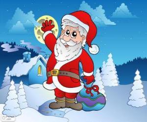 Puzle Santa Claus v zasněžené krajině