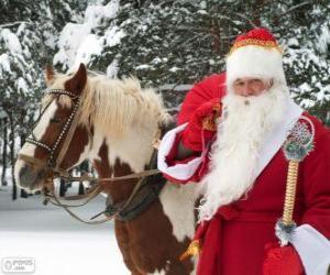 Puzle Santa Claus vedle koně