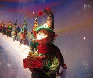 Puzle Santa je elfové kteří dárková krabička