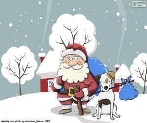 Puzle Santa v doprovodu psa