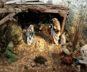 Puzle Scéna narození Ježíše v stáji nedaleko Betléma