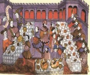 Puzle Scéna ze středověké večeře v salonu paláce nebo zámku