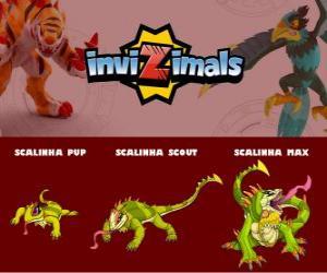 Puzle Scalinha ve třech fázích Scalinha Pup, Scalinha Scott a Scalinha Max, Invizimals