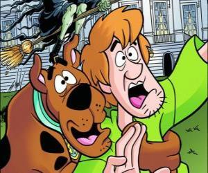 Puzle Scooby-Doo a jeho kamarád Shaggy utíkat strach