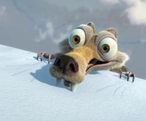 Puzle Scrat veverka, vyděšené