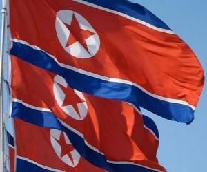 Puzle Severní Korea vlajka