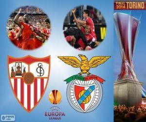 Puzle Sevilla vs Benfica. Finále Ligy 2013-2014 Evropa na Juventus Stadium, Turín, Itálie