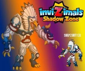 Puzle Shapeshifter. Invizimals Shadow Zone. Obrovský totem s nesmírnou mocí je bůh lesů domorodých Američanů