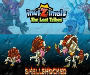 Puzle Shellshocked, nejnovější vývoj. Invizimals The Lost Tribes. Výstřední magické tvor, který žije sám v jeskyních