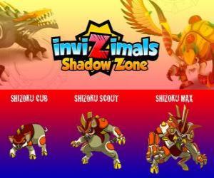Puzle Shizoku Cub, Shizoku Scout, Shizoku Max. Invizimals Shadow Zone. Samuraj prase, který pochází z feudálního Japonska, bojovníka ve zbroji
