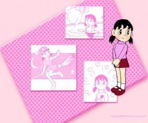 Puzle Shizuka Minamoto je jediná dívka ve skupině