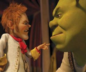 Puzle Shrek se podvedeni podpisem paktu s přátelské vyjednavače Rumpelstiltskin