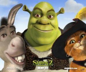 Puzle Shrek, zlobr se svými přáteli Osel a Kocour v botách