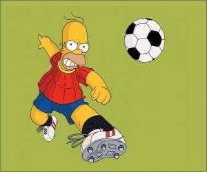 Puzle Simpson Homer hraje fotbal