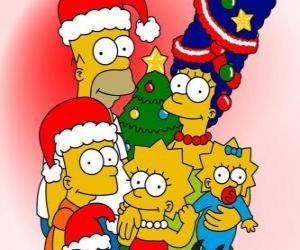 Puzle Simpsonovi, kteří chtějí vám Veselé Vánoce