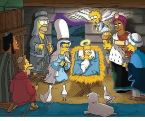 Puzle Simpsonovi v jesličkách