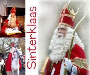 Puzle Sinterklaas. Mikuláš přináší dětem dárky v Nizozemsku, Belgii a dalších zemích střední Evropy