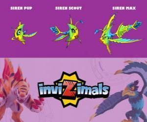Puzle Siren ve třech fázích Siren Pup, Siren Scott a Siren Max, Invizimals