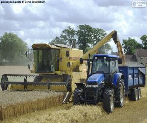 Puzle Sklírač a traktor