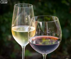 Puzle Sklo bílé a červené víno