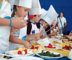 Puzle Skupina dětí, což kuchařů