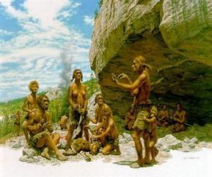 Puzle Skupina mužů neandrtálský pod ochranou rock přístřeší, osoby realizace různých činností: chartting kameny, další příprava lovu