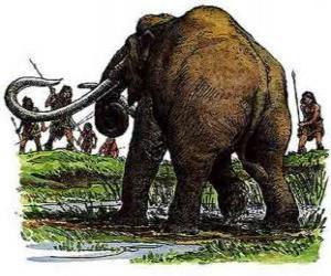 Puzle Skupina pravěkých mužů vyzbrojených oštěpy v lovu mamutů