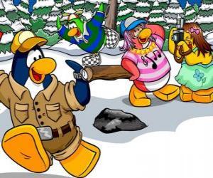 Puzle Skupina tučňáků obrací den venku sníh