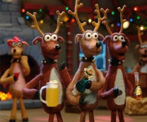 Puzle Skupina vánočních sobů slaví Vánoce