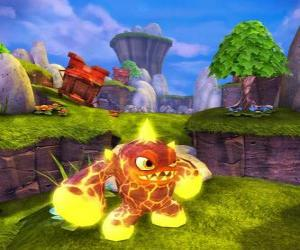 Puzle Skylander Eruptor, tvora, který vrhá ohnivé koule a plameny. Oheň Skylanders
