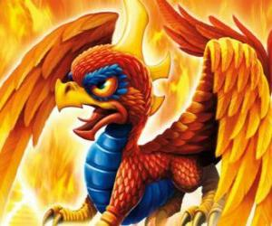 Puzle Skylander Sunburn, okřídlený drak. Oheň Skylanders