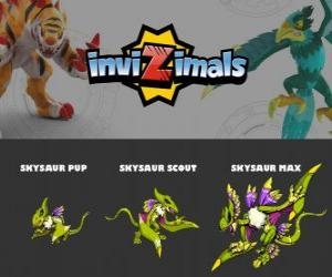 Puzle Skysaur ve třech fázích Skysaur Pup, Skysaur Scott a Skysaur Max, Invizimals